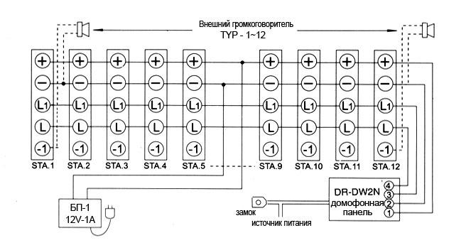 Схема соединения интеркома на базе интеркома на базе трубок TP-6AC, TP-12AC.